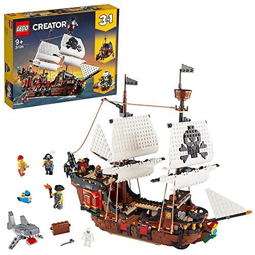 LEGO 31109 Creator 3 en 1 BarcoPirata, Taberna o Isla Calavera, Juguete de...