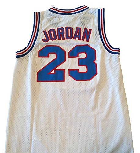 AIFFEE Men's 23 Space Jam Basketball Jersey Sports Shirts White Black Color Size S,M,L,XL,XXL,XXXL (M, White)