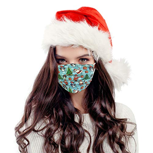 50 Piezas m_ascarillas d_esechables d_ibujos Adultos protección Industrial de 3 Capas cómodo y Transpirable Impresión navideña
