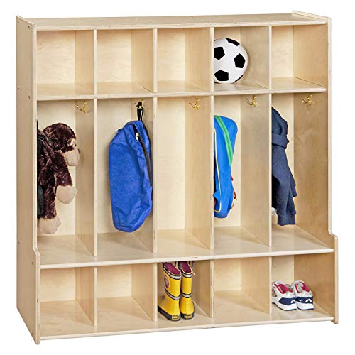 Contender 5-Section Coat Locker With Bench & Cubby Storage For Kids, Backpack Organizer With Cubbies Storage For Daycare, Preschool, Kindergarten, Montessori & Home