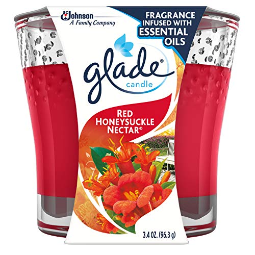 Glade Jar Candle Air Freshener, Red Honeysuckle Nectar, 3.4 oz (Packaging May Vary)