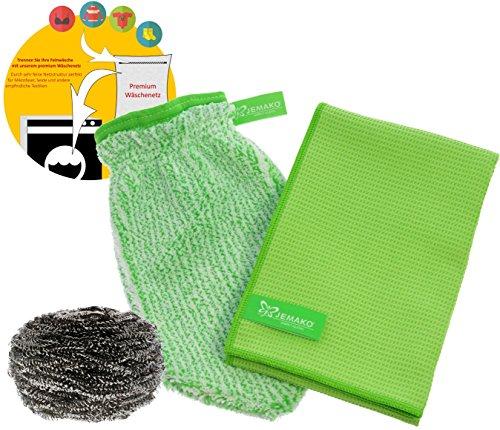 Jemako Set GREEN - Chiffon de séchage (45 x 60 cm) + gant de nettoyage avec spirale en acier inoxydable et filet à linge à mailles fines Sinland
