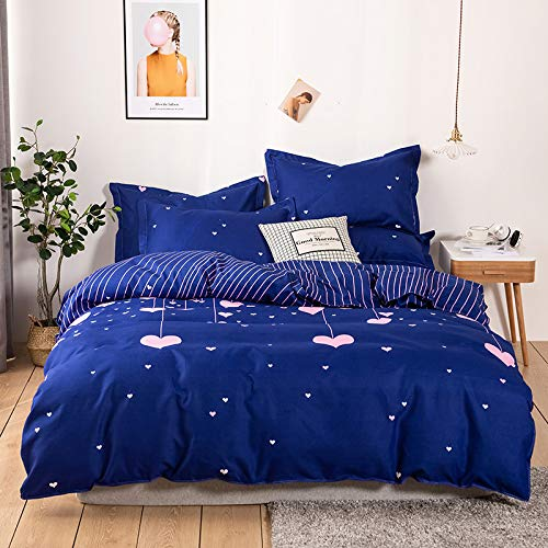 CYGJ CYGJThree-piece or four-piece set of soft and comfortable cotton beddingBlue peach heartFour sets of 1.8m bed