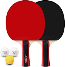 Decdeal Table Tennis 2 Player Set 2 Table Tennis Bats Rackets and 3 Ping Pong Balls with Cover Bag