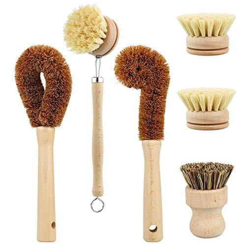 Mungowu Juego de Cepillos de Limpieza a Base de Plantas, 6 Piezas para Vegetales y Limpieza de Platos de Cocina, Cero Desechos y Cepillos de Cocina Biodegradables