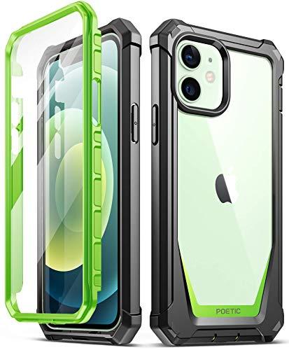 Poetic Guardian Series per iPhone 12/iPhone 12 Pro 6,1 pollici, custodia ibrida rinforzata e antiurto con protezione integrata per schermo, verde e trasparente