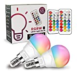 Bombilla LED Colores (2 Pack), RGBW 40W Equivalente LED Bombilla Regulable Cambio de Color Edison 6W E14, RGB 12 Colore,blanco cálido 2700K con control remoto[Clase de eficiencia energética A+]