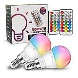 Bombilla LED Colores (2 Pack), RGBW 40W Equivalente LED Bombilla Regulable Cambio de Color Edison 6W...