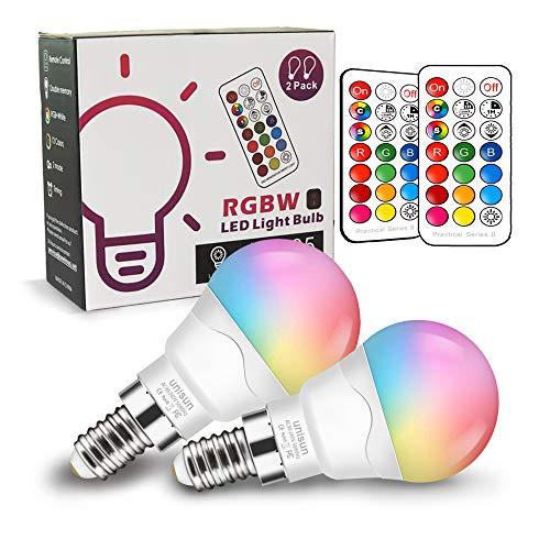 Bombilla LED Colores (2 Pack), RGBW 40W Equivalente LED Bombilla Regulable Cambio de Color Edison 6W E14, RGB 12 Colore,blanco cálido 2700K con control remoto[Clase de eficiencia energética A+]