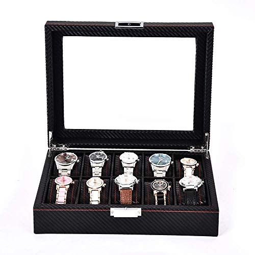 CLJ-LJ Caja para relojes con 10 ranuras de madera, caja de almacenamiento con cerradura y tapa de cristal para reloj (color: negro, tamaño: 33 x 21 x 8,5 cm) (color: negro, tamaño: 33 x 21 x 8,5 cm)