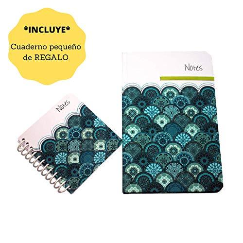 Journal de Anna Design, Cuaderno Clásico Pasta Dura, Libreta de 88 Hojas Rayadas con Diseño Azul Florala ideal para Notas y Regalos.