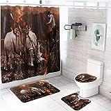 LAOSHIZI Badematte rutschfest Weich Wasserabsorbierende Badematten 4er-Pack Set Nashorn