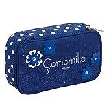 Quick Case Camomilla, Blu, Con materiale scolastico per la scuola: penne, matite, pennarelli…