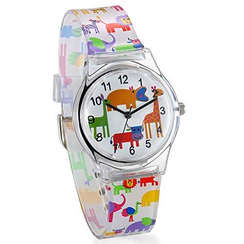 JewelryWe 可愛い 子供腕時計 ウオッチ 数字文字盤 アナログ表示 動物柄 シリコンバンド 子供の日&誕生日 プレゼント