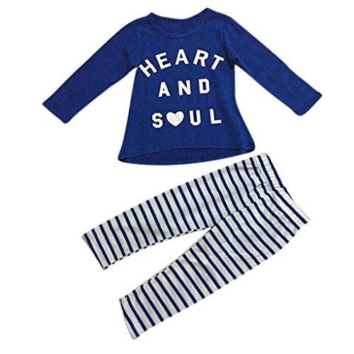 kingko® 1Réglez Toddler Fille Outfit Vêtements Lettre Imprimer Manches Longues T-Shirt Tops + Pantalons Stripe Longues (2T)