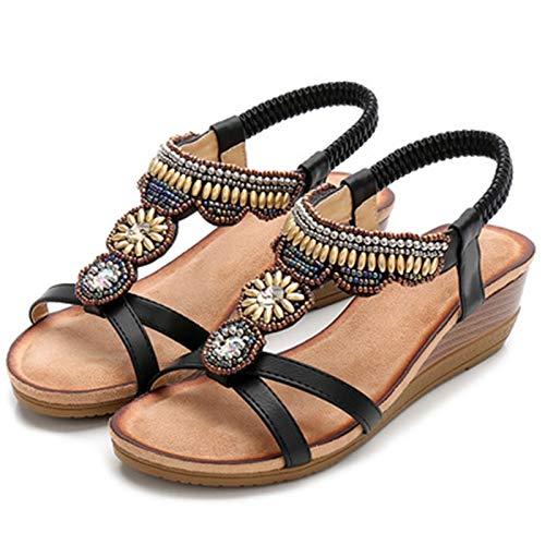 Sandalias Deportivas Mujer Verano Exterior Roma Bohemia Zapato Casual Ligero Talón Pendiente Zapatos de Senderismo Exterior Cómodo Movimiento Zapato (Color : Black, Size : 36)
