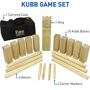 EasyGoProducts Kubb The Viking Wooden Outdoor Lawn Game Set - One 2 3/4  x 12  King, Ten 1.75  x 6  Kubb Blocks, Six 1  Diameter x 12