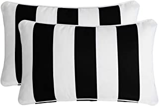 Ornavo Home Water Resistant Indoor/Outdoor Rectangle Patio Decorative Stripe Throw Pillow Cushion - Insert Included - Set of 2 - 12