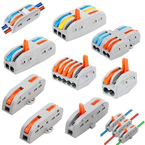 40Pcs Conector de cable,Kit conector,Conectores eléctricos rapidos,Conectores Eléctricos Rapidos con Palanca,Bornes de Conexion...