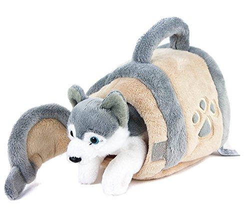 Teddys Rothenburg Kuscheltier Husky in Hundehütte 15 cm grau/beige/weiß Plüschhund Plüschtier