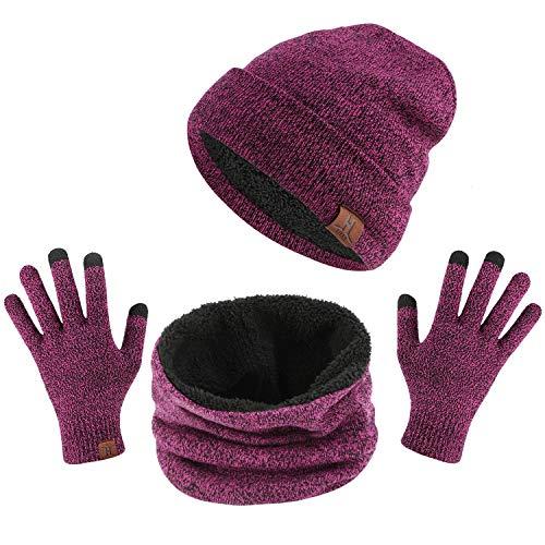 TAGVO Tricotés Ensemble d'hiver Bonnet écharpe Gants d'écran Tactile 3 en 1, Doublure Molleton Doux Bonnet tricoté Chaud Cache-Cou Extensible Gants tactiles à 3 Doigts pour Homme Femme
