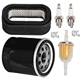 HIFROM 11013-2139 Air Filter Combo Pre-Filter with 49065-7010 Oil Filter Fuel Filter Spark Plug Tune Up Kit Replacement for John Deere 425 445 2500 2500A 2500B 2500E Lawn Mower