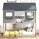 Merax House Shaped Solid Wood Bunk Bed with Roof, Window, Guardrail and Ladder for Kids, Teens, Girl or Boys Loft, Twin Over Twin, Light Gray