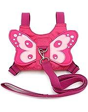 BTSKY Dziecko maluch dzieci skrzydła motyla uprząż bezpieczeństwa lejce pasek smycz różowy