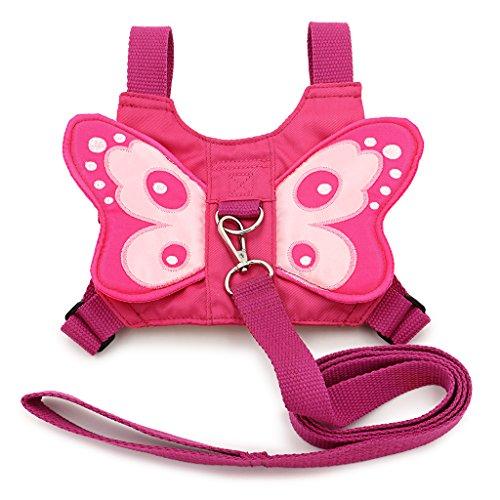 Sicherheitsgurt, Sicherheitsgeschirr für Babys und Kleinkinder mit Schmetterlingsflügeln, in pink, mit Sicherheitsleine, von BTSKY