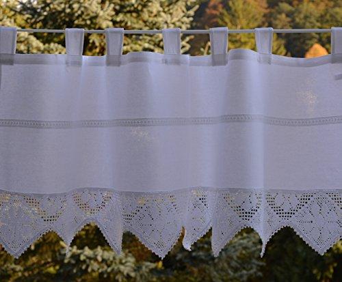 Visillo con borde de ganchillo, cortina con encaje de ganchillo, estilo rústico, vintage, 60 x 150 cm, color blanco