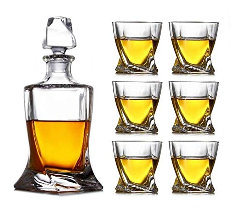 GAOTTINGSD Botellero 7 Piezas Whisky Juego de vidrios sin Plomo Cristal Whisky Decanter Puede Contener hasta 800 ml Rápido Sobrio 48~72 Horas con Cubierta de Cristal for los Hombres papá Marido