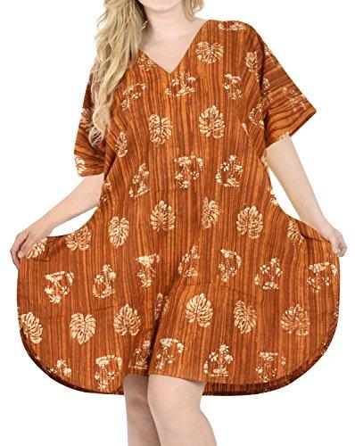 LA LEELA Damas algodón Hecho a Mano Puro del Batik túnica Suelta Arriba Noche del Vestido Traje de baño del Bikini Kimono Boho Ocasional Encubrir Loungewear Ropa de Playa Mostaza caftán Corto
