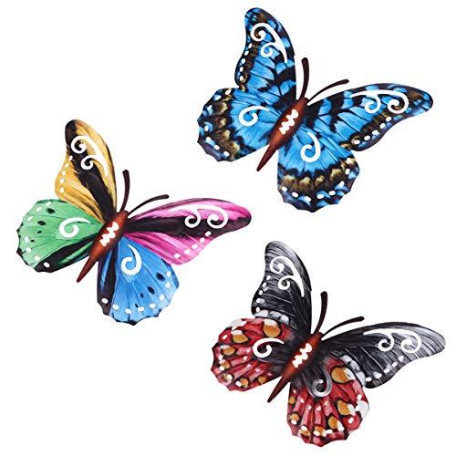 YARNOW 3 Stücke Garten Schmetterlinge Deko Eisen Gartendeko Tiere Figur Metall Wanddeko Gartenfigur Garten Dekofigur Tierfiguren Gartenskulptur Statue für Zaun Terrassen Dekoration