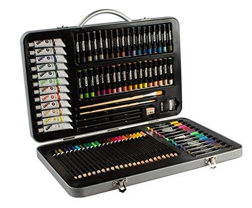 Mont Marte Premium Malset – 90-teilig – Hochwertiger Malkoffer aus Aluminium mit essentiellen Malmedien – Acryl-, Ölpastellfarben, Stifte, Pinsel und vieles mehr