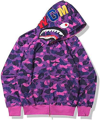 Vagbalena Bape Uomini con Cappuccio delle Donne A-p-e Shark Giacca Camo della Chiusura Lampo con Cappuccio Hip-Hop con Cappuccio Coppia Giacca (Shark Camo 7,L)