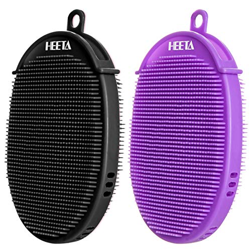 HEETA 2-Pack Glove-Shaped Body Brush for Wet and Dry Brushing, Silicone Bath Brush for Gentle Exfoliating on Softer, Glowing Skin, Gentle Massage to Improve Your Blood Circulation (Black & Purple)