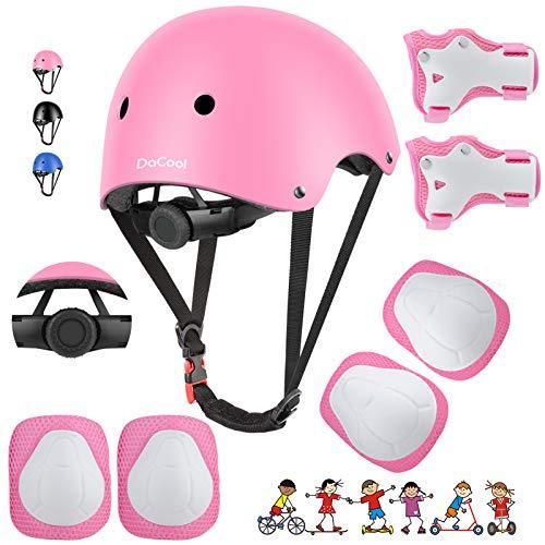 DaCool Kids Bike Helmet Skateboard Knee Pads - Toddler Helmet Adjustable for 3~8yrs Girls Boys Child Kids Protective Gear Set for Sport Cycling Bike Roller Skating Scooter Rollerblade,Pink