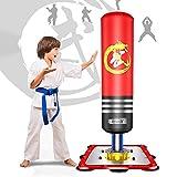 Dripex Sac de Frappe sur Pied Boxe Enfant Debout Libre Robuste Sac de Punching Kick Appareil d'entraînement (Rouge)