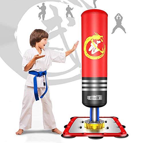 Dripex Sac de Frappe sur Pied Enfant 120 cm Sac de Boxe Autoportant pour Karaté Fitness Taekwondo Cadeau Noël et Nouvel an pour Enfant(Rouge)