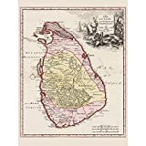 Wee Blue Coo Balda Relandi Map Ceylon Sri Lanka Only Art