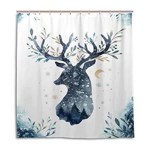vinlin Aquarell REH Wasserfester Duschvorhang 167,6 x 182,9 cm, Polyester, Multi, 66x72 inch