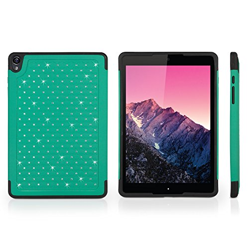 Nexus 9 Case, BoxWave [SparkleShimmer Case] Sparkly Rhinestone Cover w/Shock Absorbing Bumper for Google Nexus 9 - Teal