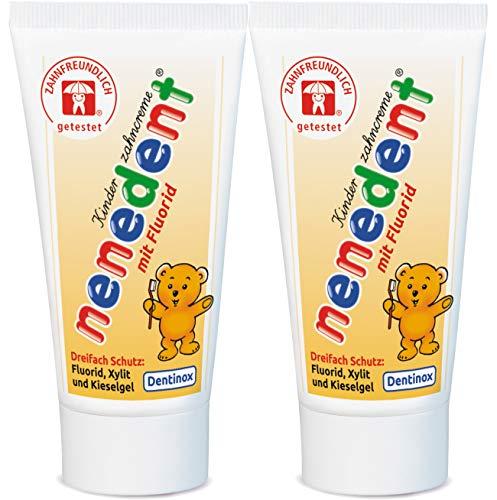 nenedent Kinderzahncreme mit Fluorid, Himbeer-Erdbeer-Aroma, 2er Pack (2 x 50ml)