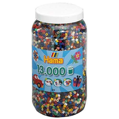 Hama - 211-67 - Loisirs Créatifs - Pot 13000 Perles à Repasser - Taille Midi - 22 Couleurs