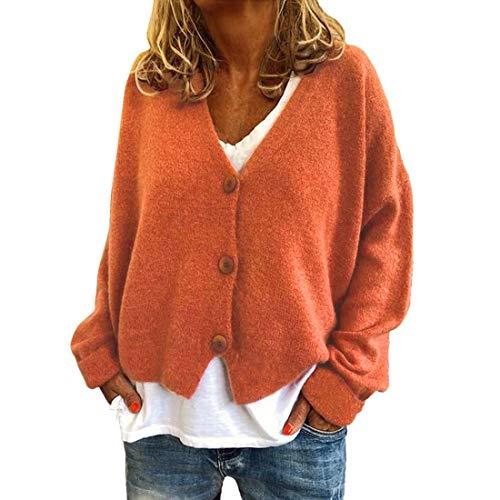 ZHUQI Cardigan Damen Strickjacke Damen Elegant Knopf Strickjacke Einfarbig Sexy Kurzes Damen Cardigan Herbst Neues Langarm Lose All-Match Mode Casual Damen Cardigan J-Orange XL