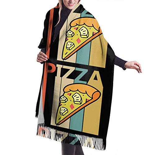 Ahdyr Bufanda de chal para mujer BlackVintage Piña Hawaiana Pizza Bufanda de invierno Bufandas de cachemira Elegante Mantón envuelve Manta