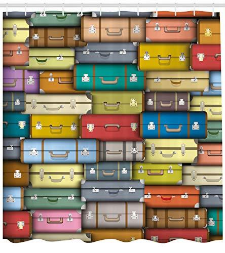 Valigia vintage a colori HD Printing, tenda da doccia impermeabile da bagno, 12 ganci gratis, 180 x 180 cm
