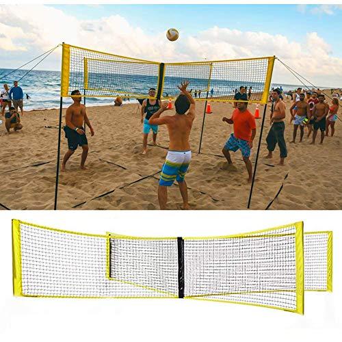 Sawera Badminton Netz Tragbares Volleyball Cross Volleyballnetz und Tennis Netz mit Verstellbaren Höhen Beachvolleyball Faltbares Federballnetz Outdoor Trainingsnetz - für 4 Personen Strandspiele