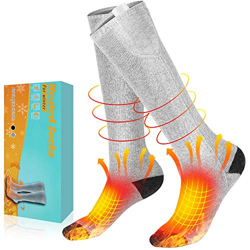 AiBast Electric Heated Socks for Men Women Rechargeable and Washable, 3 Heating Settings Battery Heated Socks for Winter, Thick Thermal Foot Warmer Socks for Hunting, Ski, Camping