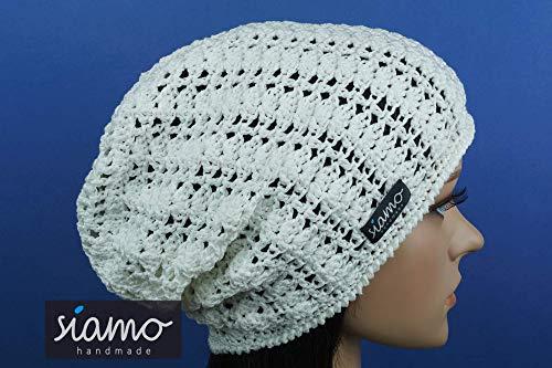 Sommer-Beanie SAVONA weiß Sommer-Mütze von siamo-handmade Baumwolle